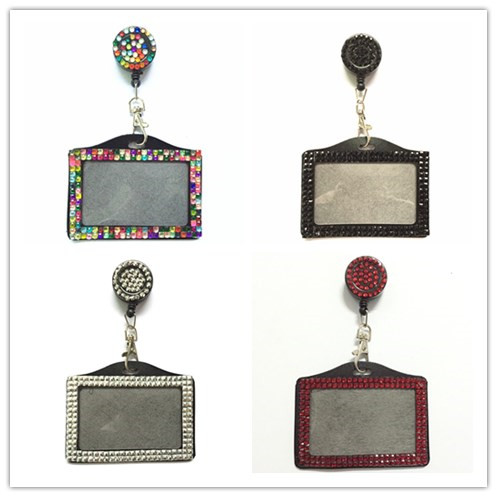 Bling Rhinestone Credit Card Bus Card Case ID Badge Holder Horizontal With Crystal Retractable Badge Reel 1pcs