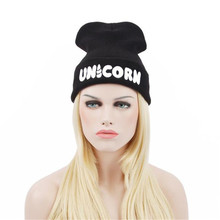 2016 Winter Black UNICORN Beanie Hat And Snapback Men And Women Cap Black Femme Super Soft Sweater Hat Fashion Sombrero Se30