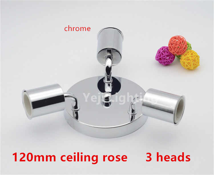 chrome metal ceiling rose with Multiple E27 ceramic screw lamp holders Led bulb light ceiling canopy Lighting accessories
