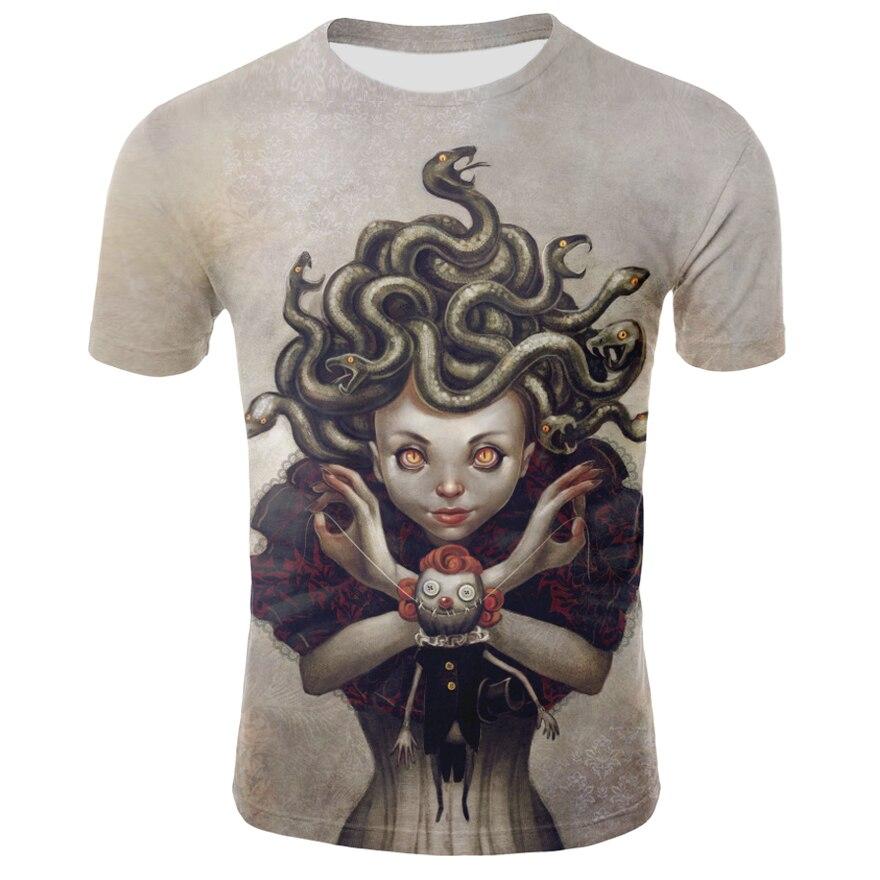 2019 The New Summer Animation 3 D Printed T-shirts Gorgon Medusa Snakehead Hair Fashion T-shirt Printing Men T-shirt +size S-4XL