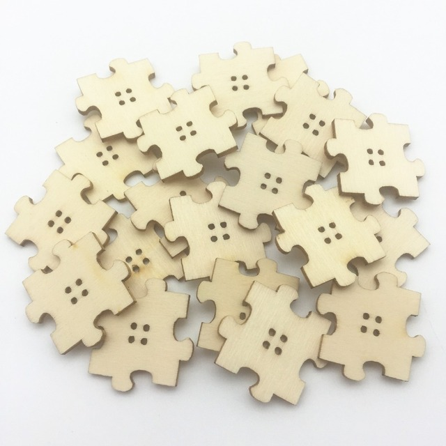 60pcs Natural Laser Cut Out Wood Puzzle 4 Holes Buttons Sewing Accessories DIY Crafts 30mm