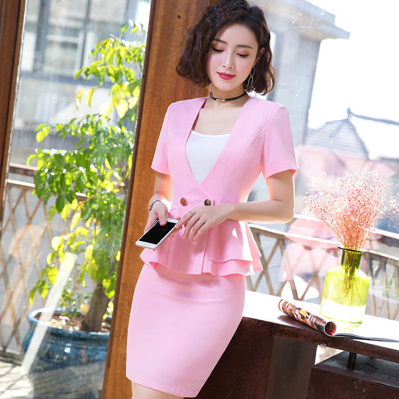 IZICFLY Summer Women Clothes 2019 Formal Ladies Office Uniform Pink Elegant Mantelpakje Vrouwen Business Skirt Suit Formal Wear