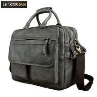 Genuine Leather Men Design Business Briefcase Laptop Document Case Fashion Commercia Portfolio Attache Messenger Bag Tote