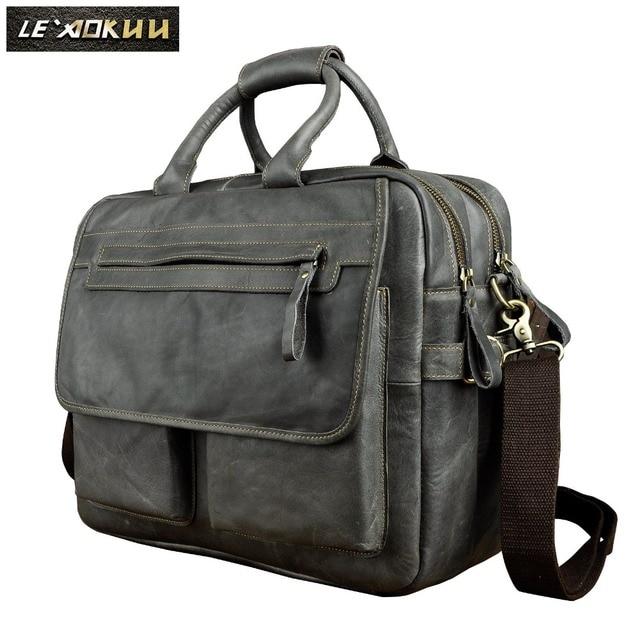 Genuine Leather Men Design Business Briefcase Laptop Document Case Fashion Commercia Portfolio Attache Messenger Bag Tote 2951b