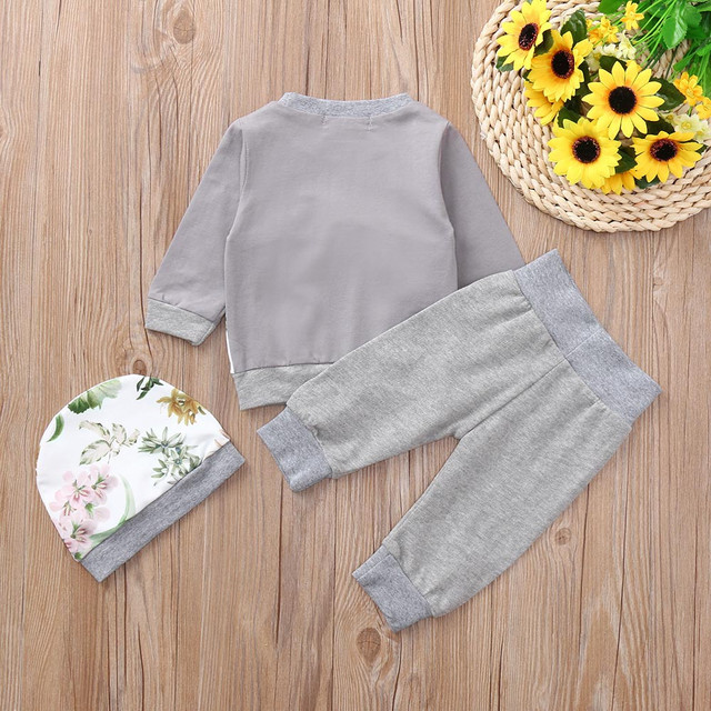 MUQGEW 2018 baby girls clothes set girls clothing 3PCs Floral Print Tops Pants Hat Winter clothes for children roupas menina 2