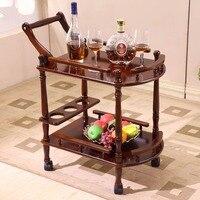 Отель обеденный корзину с колесами двухслойные деревянный стол обеденный автомобиль Винная Корзина красота салон тележка подножка сбоку Б