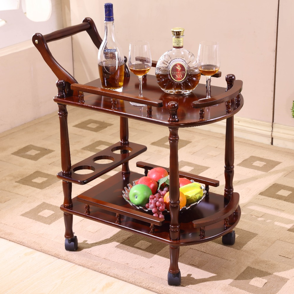 купить Hotel dining cart with wheels double deck wood Table dining car wine cart beauty parlour trolley side stand Bar Hotel furniture по цене 12137.55 рублей