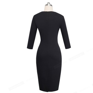Image 3 - נחמד לנצח בציר ניגודיות צבע טלאים עבודת vestidos הולו מתוך O צוואר המפלגה עסקי Bodycon משרד נשים שמלת B482