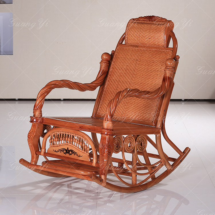Carved Wooden Rocking Chair Old Classic Rattan Chaise Lounge Chair Happy Rocking  Chair Lunch Couches Really Rattan Furniture On Aliexpress.com | Alibaba ...