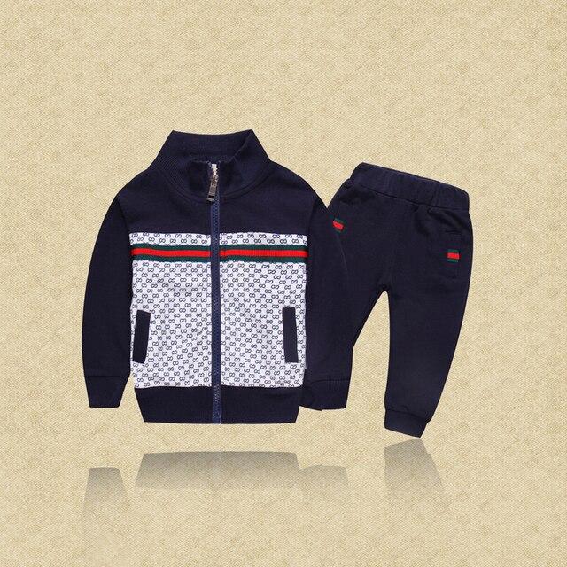 Spring Long Sleeve Boy Set Jacket + Casual Pants Kids Suit 2017 Fall Brand Design Children's Sports Suit Baby Sets bobo choses