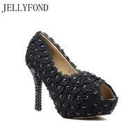 Jellyfond пикантные черные сапоги Кружево открытый носок платформа на высоких каблуках свадебные туфли женские ручной работы Стразы Свадебное