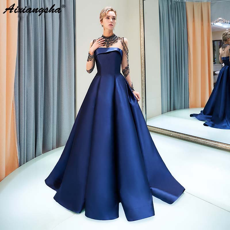 Long Sleeve Prom Dresses 2019: Navy Blue 2019 Prom Dresses High Neck Beading Prom Dress