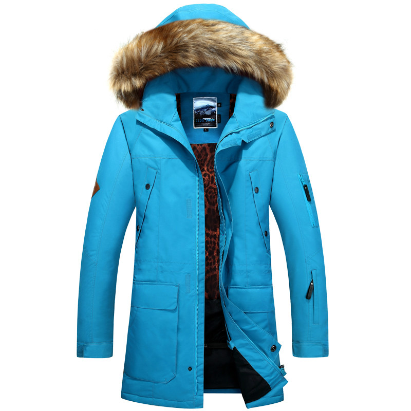 NIUMO NEW Snowboarding Jackets suits the man Windproof waterproof High-end Wax cloth Fur collar In the long section