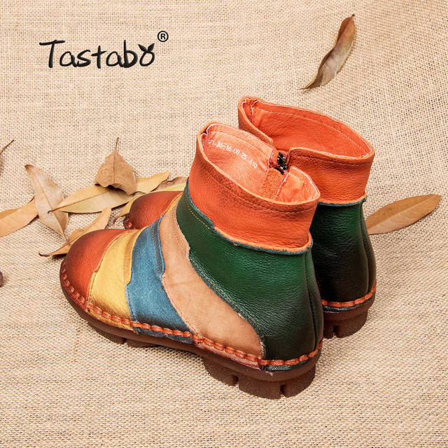Tastabo Hot Sale Shoe Martin Boots Genuine Leather Ankle Shoes Vintage Casual Shoes Brand Design Retro Handmade Women Boots Lady