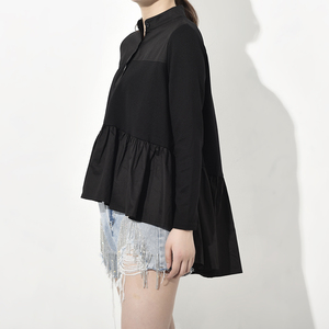 Image 4 - [EAM] blusa larga holgado y plisado con cuello levantado para primavera y otoño, Camisa larga asimétrico con Espalda descubierta, 2020