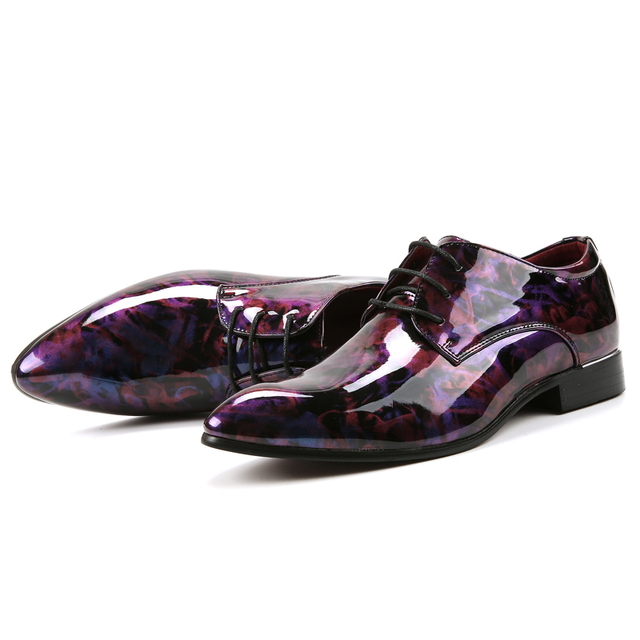 fashion camouflage men patent leather shoes mixed colors italian dress male footwear print flower wedding oxford shoes for men