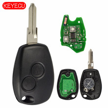 Keyecu Chiave Auto Chiave A Distanza 2 Pulsante 433 MHz PCF7961M HITAG AES Chip per Renault Logan II Sandero II 2014 Uncut VAC102