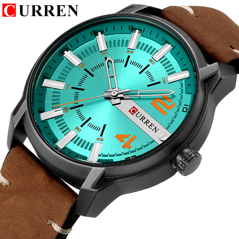 Casual Mens Watches Analog Quartz Wrist Watch CURREN Unique High Quality Leather Strap Man Clock Water Resistant Relojes Hombre
