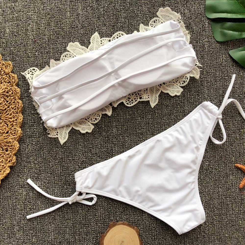 HTB1GORElLiSBuNkSnhJq6zDcpXaf - White tube top lace flower split swimsuit  2 piece set women swimming suit Solid color strap flowers beach swimwear Y-NEW
