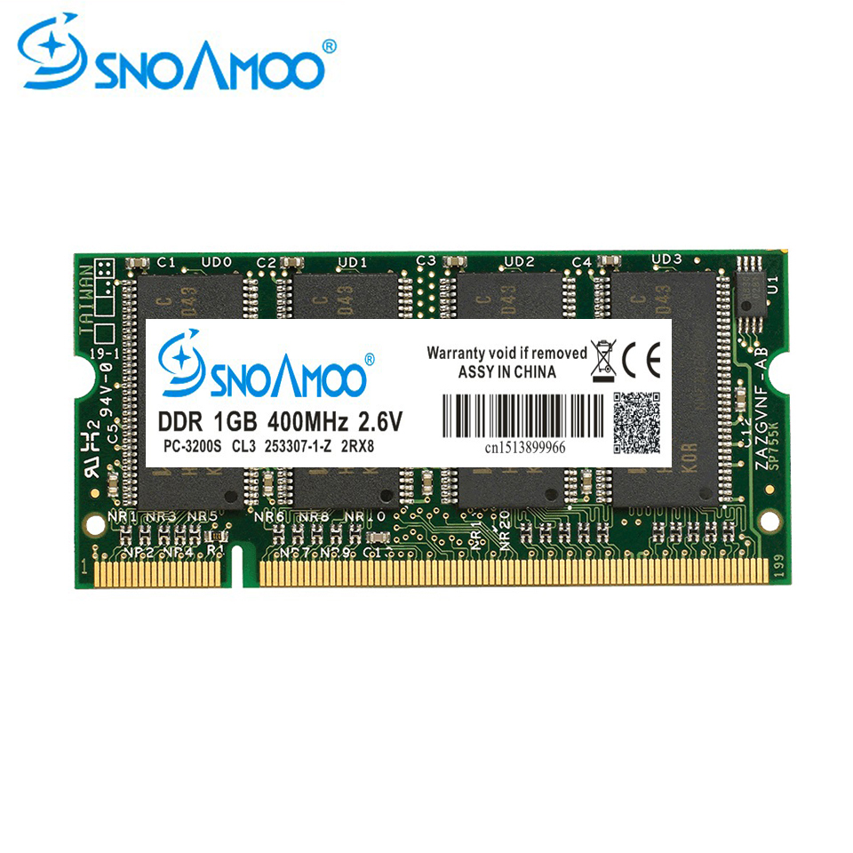 SNOAMOO Laptop Memory DDR 1GB 333MHz PC2700 400MHz PC3200 200Pin DDR 1GB CL3 CL2.5 2.6V SO-DIMM Laptops RAMs Lifetime Warranty