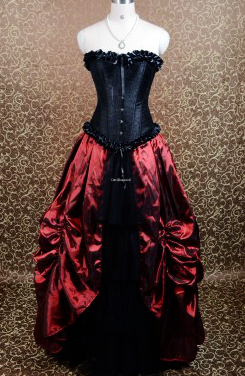 black and wine red gothic burlesque corset prom gown