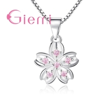 Lose Money Big Promotion New Fashion Pink Flowers Pendant Solid 925 Sterling Silver Good Cubic Zirconia For Women Ladies