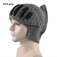 83e7dc12cd7 Cool Men Roman Knight Knit Hat Winter Warm Women Gladiator Mouth Mask Wool  Beanies Handmade Funny Ski Caps Party Christmas Gift