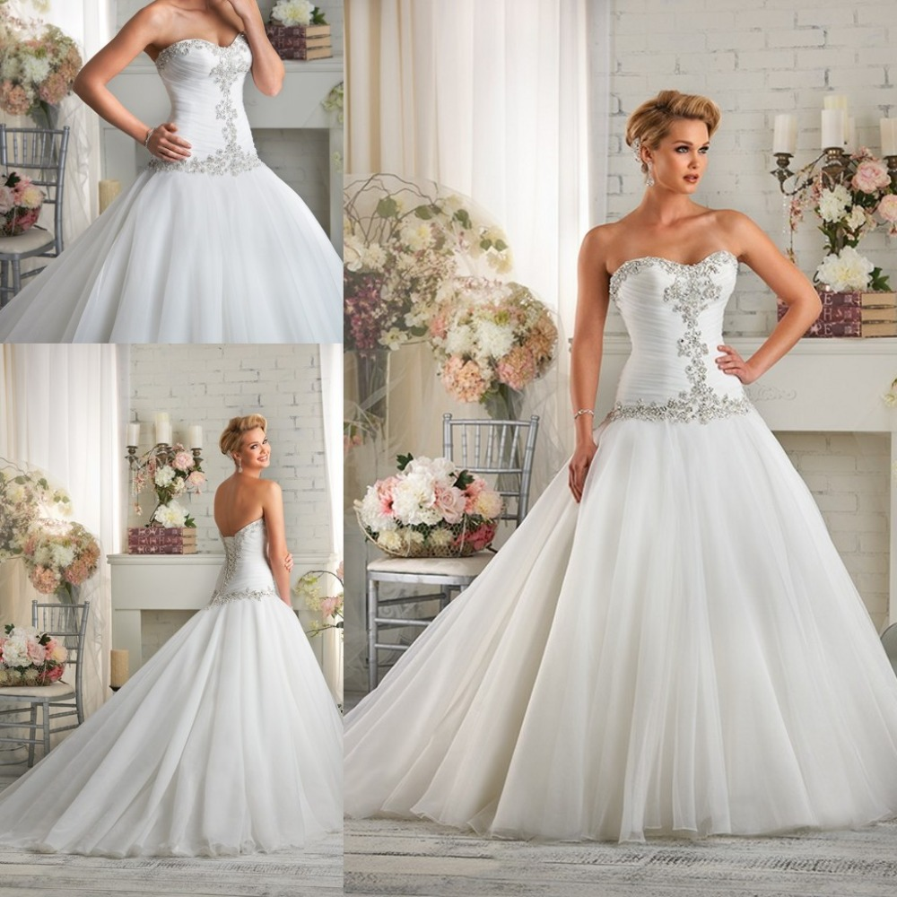 Beautiful Simple Wedding Dress White Wedding Dress Pleated Crystal ...