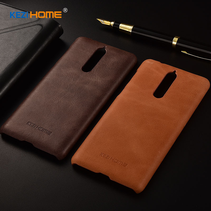 for Nokia 8 case KEZiHOME Frosted Genuine Leather Hard Back Cover For Nokia 8 5.3'' Phone cases
