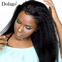 Kinky прямо полный кружево Искусственные парики Бразильский Glueless парик 150% Грубый Яки натуральные волосы для женщин длинные черны