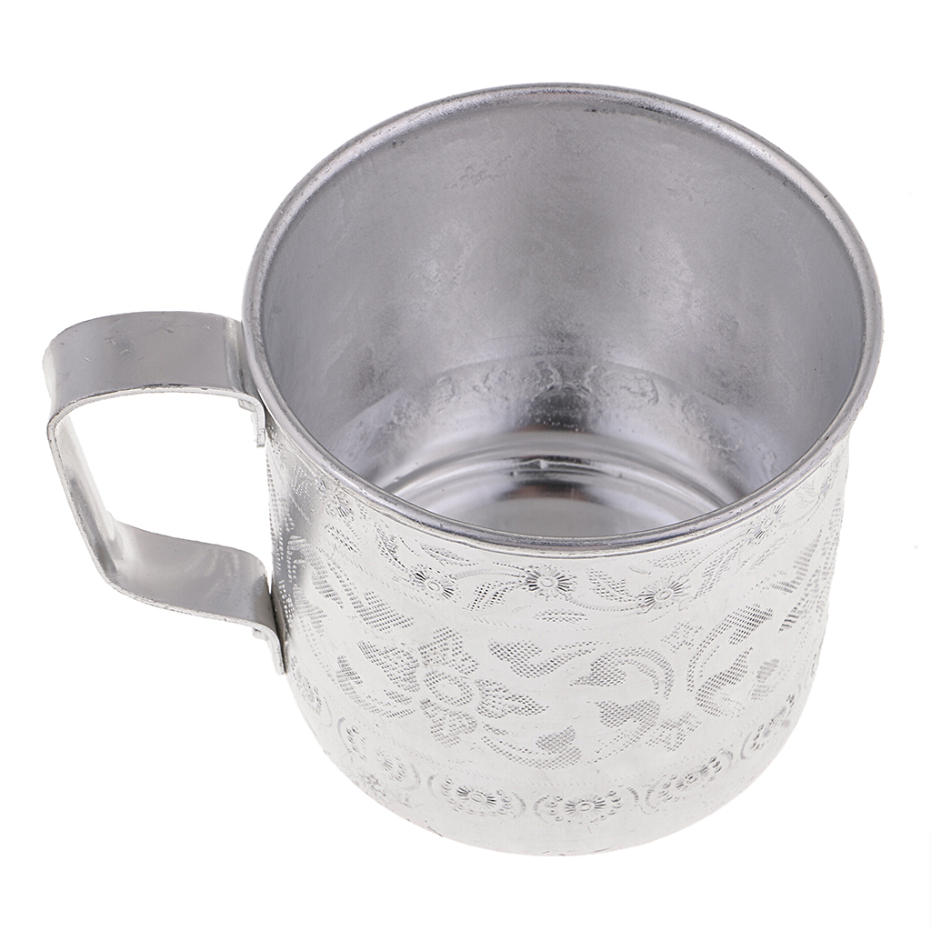 Asian Thailand Carved Tin Cup Mug Tin Can Drinkware for Drinking Coffee Cup