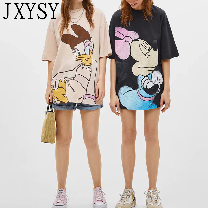 JXYSY 2019 summer   t  -  shirt   women england style cartoon animal Printing cotton short sleeve Medium length woven   t     shirt   women tops