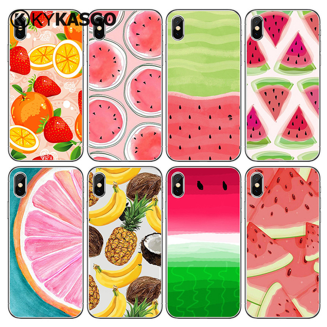 hot sales 6e962 47367 US $640.0 |Summer Fruit Lemon Watermelon Pattern Cell Phone Case For iPhone  8 X 6 6S 7 Plus 5 5S SE Transparent Silicone Phone Back Cover-in Fitted ...