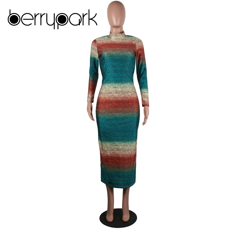 BerryPark Gradient Print Multi Bodycon Dress 2019 Sheath Stretchy Mid Dresses 5