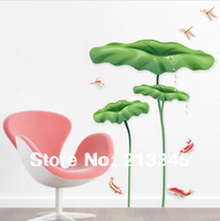 Saturday Mall Dragonfly Lotus Leaf Pattern Decorative Wall Stickers Large Living Room Bedroom 6305