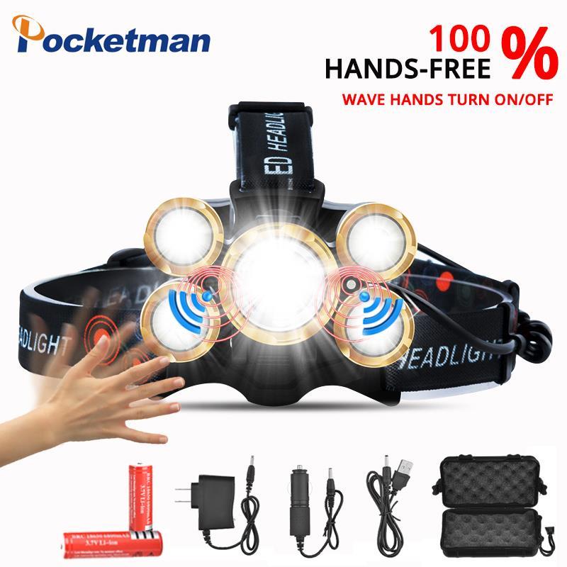 Warnen 50000 Lums Scheinwerfer Sensor Led Scheinwerfer T6 Zoom High Power Lampe Wasserdichte Led Taschenlampe Kopf Licht Wiederaufladbare 18650