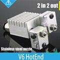 HOT! All-metal Hotend Quimera-Multi-V6 Dual Head Extrusora HotEnd extrusão, 0.25/0.4/0.6/0.8mm Bicos, 1.75mm impressora 3D