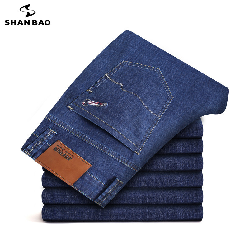 28-46 Large Size Men's Business thin Casual   Jeans   2019 new Autumn Brand Pocket Embroidered Cotton Elastic Solid Color Pants