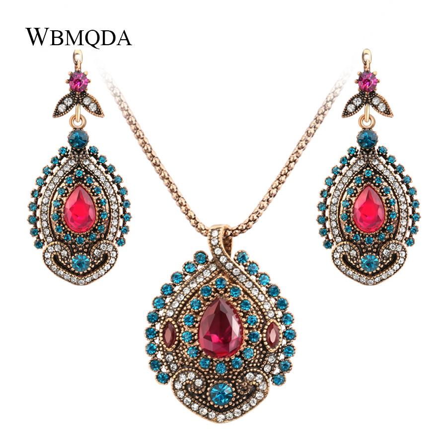 Furniture Wbmqda Vintage Big Stone Earrings For Woman Fashion Antique Gold Bridal Earings Turkey Jewelry 2018 New Arrivals