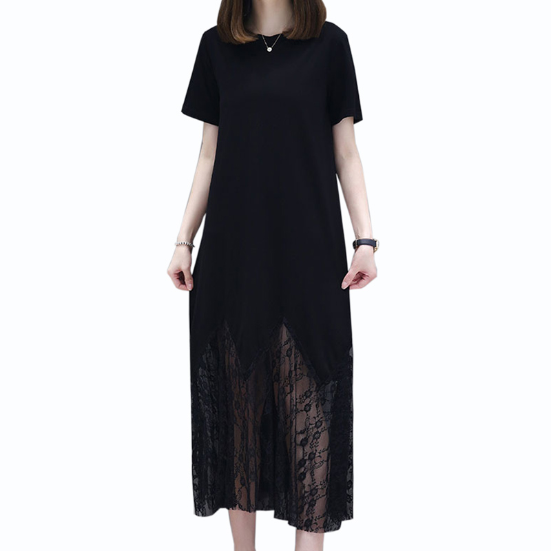 <font><b>2019</b></font> <font><b>summer</b></font> new <font><b>fashion</b></font> Streetwear <font><b>dress</b></font> <font><b>women</b></font> black <font><b>elegant</b></font> <font><b>Lace</b></font> Loose long <font><b>dress</b></font> <font><b>Sexy</b></font> Short sleeve O-Neck <font><b>dress</b></font> <font><b>women</b></font> image