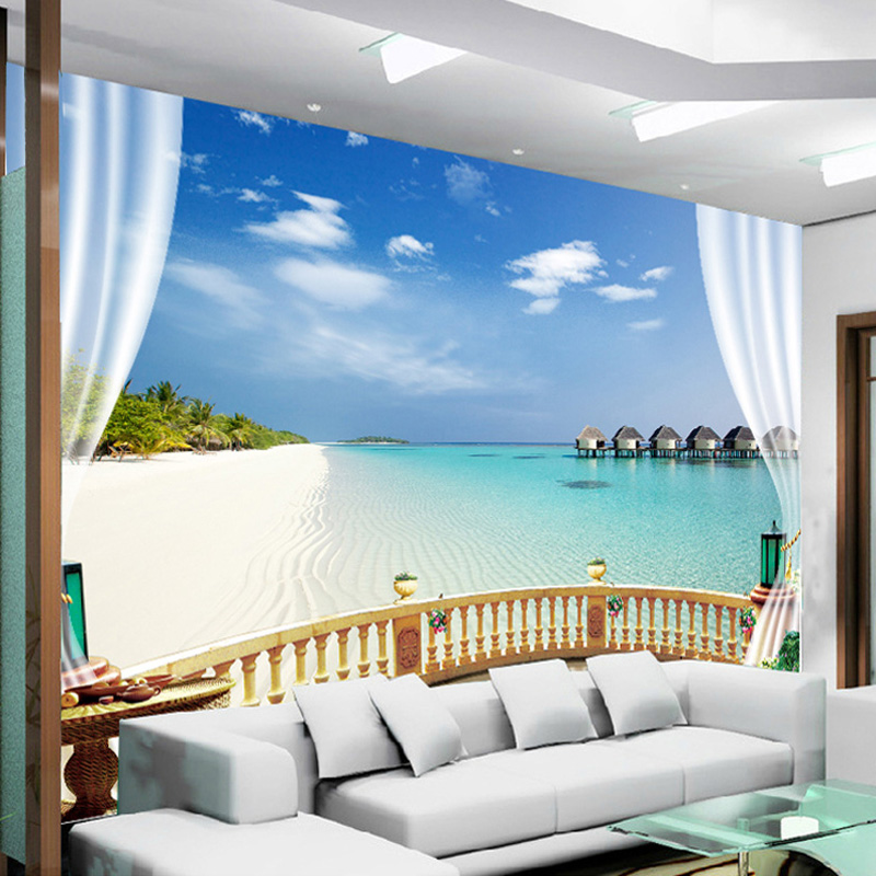 Custom Wall Mural Wallpaper 3D Beach Seaview Wall Painting Living Room Sofa Bedroom Photo Wallpaper Home Decor 3D Wall Murals custom 3d mural wallpaper non woven bedroom livig room tv sofa backdrop wall paper ocean sea beach 3d photo wallpaper home decor