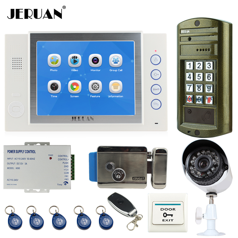 JERUAN NEW 8`` Video Door Phone Intercom System kit Metal Waterproof Access password keypad HD Mini Camera + Analog Camera 2V1 jeruan home 7 inch video door phone intercom system kit new metal waterproof access password keypad hd mini camera 2 monitor