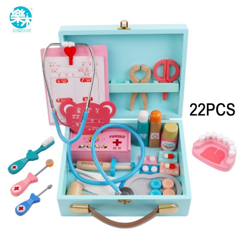 Logwood brinquedos Do Bebê Engraçado jogar Vida Real Cosplay jogo Médico Finja Doctor Play Set brinquedo De Madeira Caixa de Medicina Portátil para kid