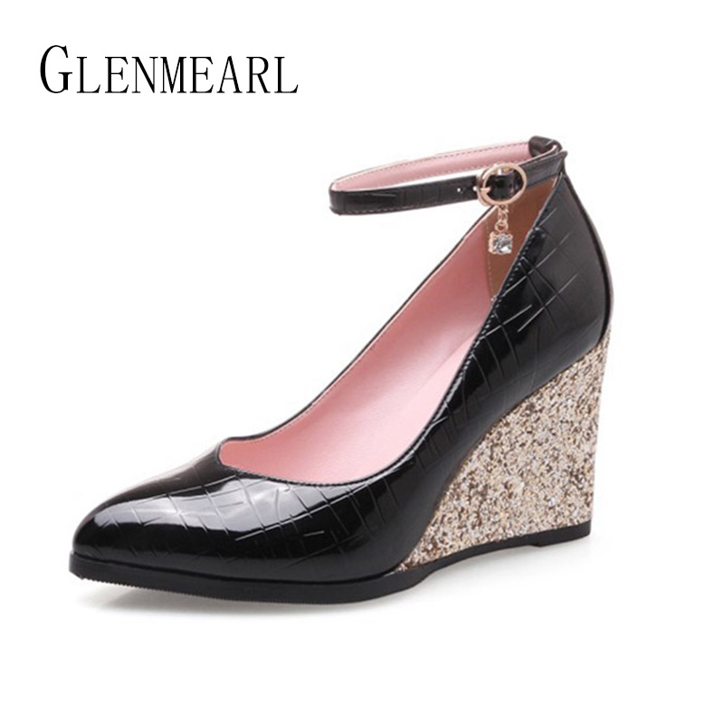Women Shoes Wedges Heels Brand Spring Ankle Strap Woman Pumps High Heels Pointed Toe Single Dress Shoes Party Bling Glitter DE daidiesha pu leather high heels shoes women pointed toe glitter pumps elegant party wedding lady block heels ankle strap shoes