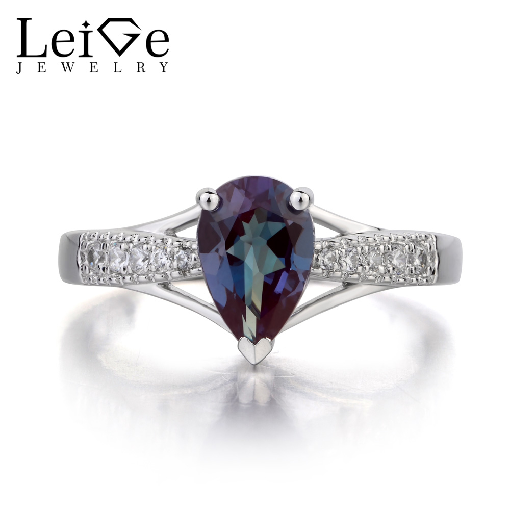 Leige Jewelry Pear Cut Lab Alexandrite Ring Engagement Rings 925 Sterling Silver Gemstone June Birthstone Fine Jewelry for Her leige jewelry pear shaped engagement rings for women lab alexandrite promise ring sterling silver 925 fine jewelry pear gemstone