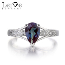 Leige Jewelry Pear Cut Lab Alexandrite Ring Engagement Rings 925 Sterling Silver Gemstone June Birthstone Fine Jewelry for Her