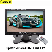 7 Inch TFT LCD Color Car Monitor 2 Video Input PC Audio Video Display VGA HDMI AV Input Security Monitor Screen Car-styling