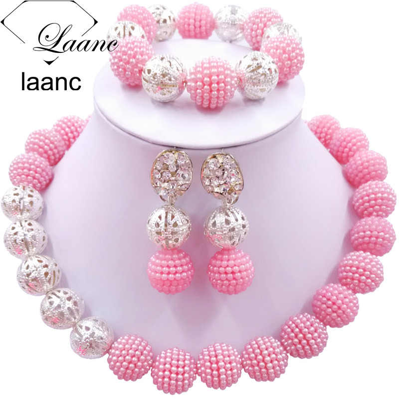 Laanc Pink African Beads Jewelry Set for Women Nigerian Wedding Accessories AL685