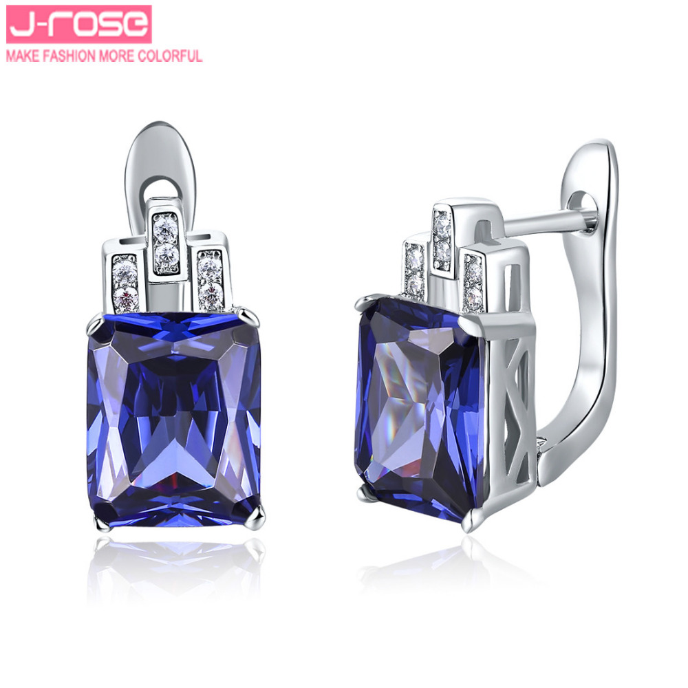Jrose Luxury Created Tanzanite Jewelry 925 Sterling Silver Earrings Clip  Brand Hign Quality Promised Ear Cuffs Earring For Women