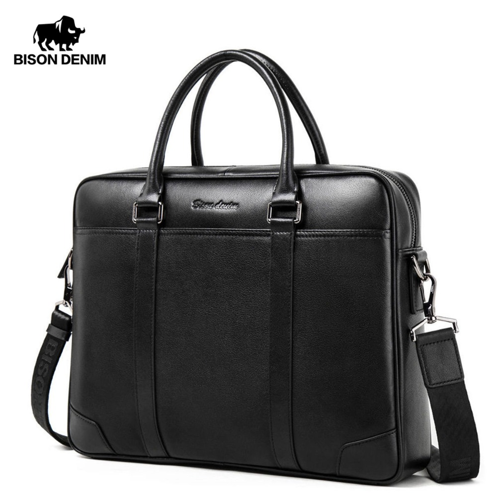 Бизон джинсовой моды коровьей мужской сумки известный бренд 14 дюймов ноутбук Бизнес сумка Для мужчин сумка дорожная сумка N2610